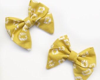 Baby Girl, Toddler, Girls Mustard Geo - Navy Bow