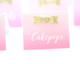 Pink and Gold Tent Cards (Set of 10)