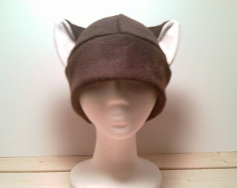 Brown Cat Hat - Fleece Kitty Cat Hat - Cat Ears Hat - Cat Fleece Beanie - Brown Beanie Hat - Cosplay Cat Hat - Manga Cat Hat - Anime Cat Hat