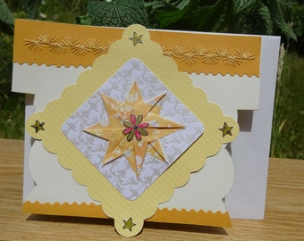 Origami Star and Embroidered Decorations Greeting Card (CR 25)