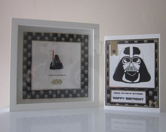Star Wars Darth Vadar Wooden Picture Box Frame with Matching Handmade Card