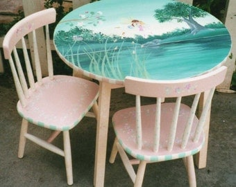 child's table and chair set, hand painted garden fairies table and chair set, children's furniture, kids tables