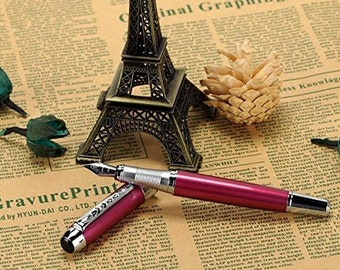 Classic Purple Fountain Pen, Medium Nib Chrome Trim Fountain Pen, Excellent Ink Pen for Writing, Calligraphy, Drawing, Inking