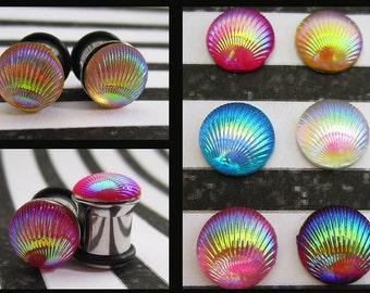 Colorful Seashell EAR PLUGS earrings pick gauge size and color 8g, 6g, 4g, 2g, 0g aka 3mm, 4mm, 5mm, 6mm, 8mm
