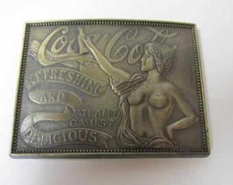 Vintage Coca Cola Brass Belt Buckle Topless Lady Atlanta