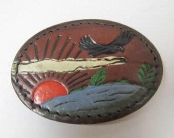 Vintage Leather Bird Flying Belt Buckle