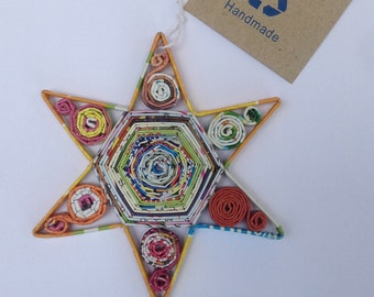 Hexagon Star Ornament, Quilled Paper Christmas Ornament, Recycled Paper, Upcycled Decoration, Handmade Gift, Mini Wall Art