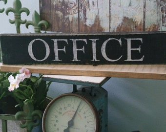 Wooden OFFICE sign.  reclaimed wood sign. Shelf sitter or wall hanging. Great for a Dorm, library, gallery wall, home office~hand painted