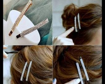 40% OFF SILVER Rhinestone Hair Pin Pair