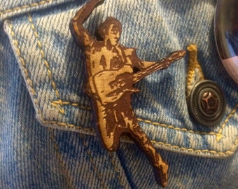BRUCE Springsteen laser engraved wood Born In The USA The Best Show iconic caricature brooch pin