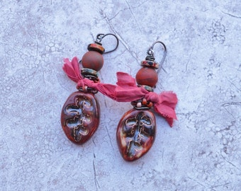 Boho jasper and silk earrings ButterflyEmporium - DayLilyStudio