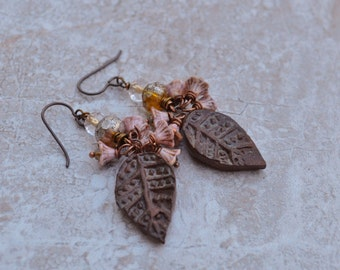 Pink and Brown Leaf Earrings ButterflyEmporium - DayLilyStudio
