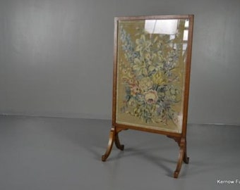 Antique Inlaid Mahogany Floral Fire Screen