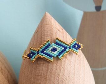 Bracelet de style oriental, tissé à l'aiguille, en perle de verre japonaises Miyuki, style bohème chic, apprêts dorés à l'or fin 24 carats