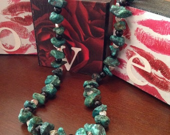 Real Turquoise Celtic Heart Necklace