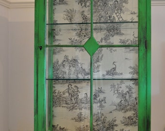 Toile de jouy display cabinet