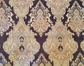 Chenille Dark Brown and Gold Damask Upholstery Heavy-Weight Designer Fabric