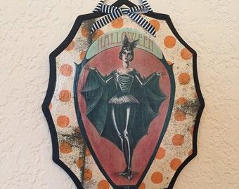 Bat-girl for Halloween Plaque
