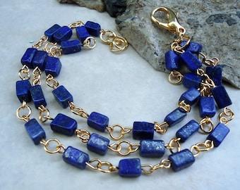 Blue Lapis Lazuli Stone Bracelet.Triple-strand.Gold.Silver.Beadwork.Navy Blue.Multi Strand.Chunky.Resort.Bridal.Formal.Holiday. Handmade.