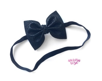 Black Faux Leather Bow