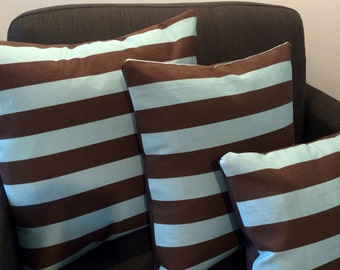 Pillow Cover - Blue & Brown Stripe