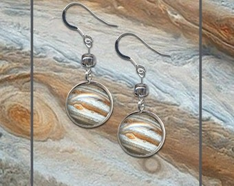 Jupiter earrings displayed on a High Quality photo card with matching envelope