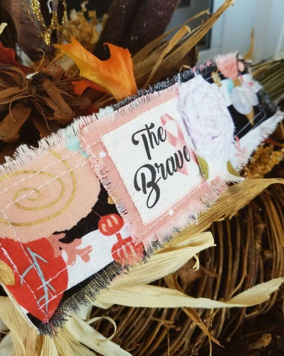The Brave- October Breast Cancer Awareness Month- Vintage Fabric Cuff