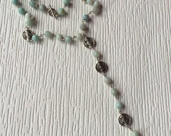 Rosary aquamarine gem