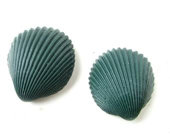 2x Dark Green Real Sea Shell Hair Clips Mermaid Bridesmaid Beach Ariel Grips 7AD