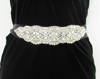 Black Silver Pearl Diamante Belt 1920s Flapper Prom Great Gatsby Vintage 5AO