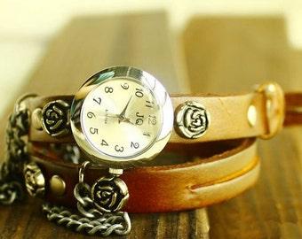 Vintage watch wrap watch rose (A 976)