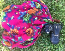 Floral scarf camera strap > bright pink || for Nikon, Canon, and DSLR photography