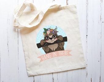 SALE**Sloth Floral Tote Bag