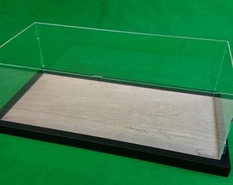 22 x 9 3/4 x 7 Inch Pocher Acrylic Display Case Showcase w/Wood Base for 1:8 Model Black Frame