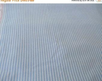 ON SALE Vintage Blue & White Stripe Oxford Cotton Shirting Fabric 58 x 101