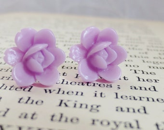 Vintage Lavender Rose Stud Earrings