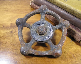 "Vintage Cast Iron Valve Handle - Five Spoke - 3 3/4"" Wide"