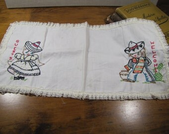 Vintage Embroidered Cotton Table Scarf - Mexican Cat and Dog