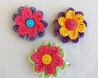 Crochet Flower Hair Clip, Set of 3