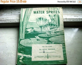 Water Sprites For the Piano by Leila Fletcher, Harold Flammer Incorporated, New York, 1936, Frameable VIntage Sheet Music Art