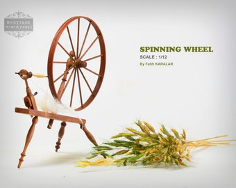 Miniature 18th Century Large  Spinning Wheel, Walking Wheel. Vintage, Spin, spindle, dollhouse furniture, artisan,wheel works, 1/12th scale,