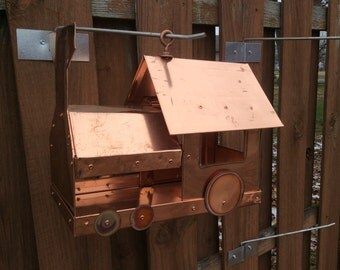 Copper train bird feeder