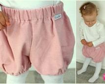 Diaper bloomers short pants corduroy pants Shorty baby girl Rose Quartz