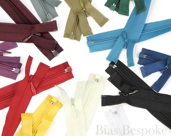 Invisible Separating Zippers in 2 Lengths and 12 Colors, Bias Bespoke Brand