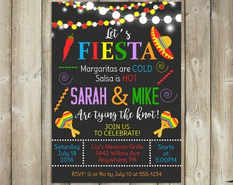 Fiesta Engagement Party Invitation - Let's Fiesta - Tying the Knot - DIGITAL FILE