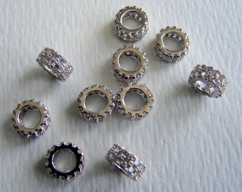 SALE. 925 Sterling Silver, Cubic Zirconia Micro Pave Bead Spacer, Donut,  3x8mm, Hole:Approx 4mm. (405BB449-9)