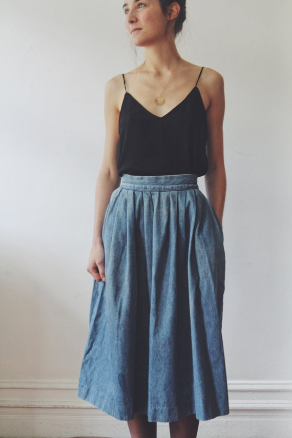 Vintage Denim Prarie Skirt // Denim High Waisted Box Pleated