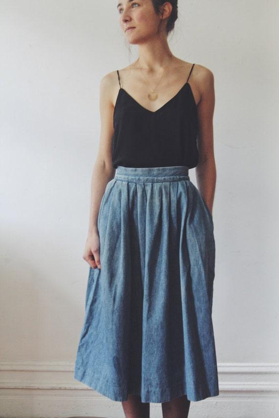 vintage denim prarie skirt denim high waisted box pleated