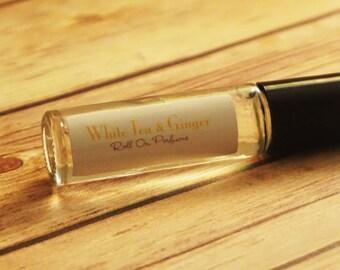 White Tea & Ginger Handmade Roll On Perfume Oil/Light Summer Scent/Ginger Citrus Long Lasting - Simple Ingredients/Vegan
