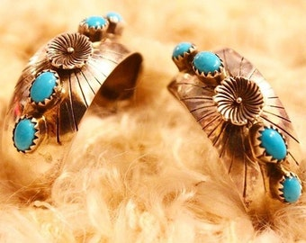 Native American Turquoise Flower Hoops